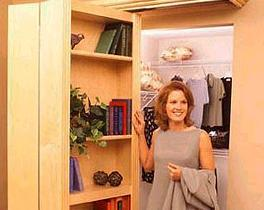Wood bookcase hiding folding door-2