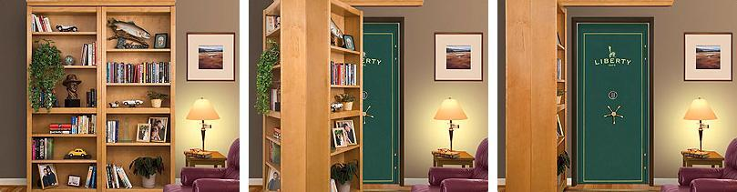 Wood bookcase hiding folding door-3