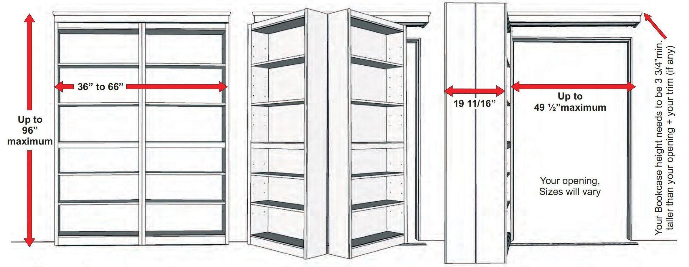 Wood bookcase hiding folding door-4