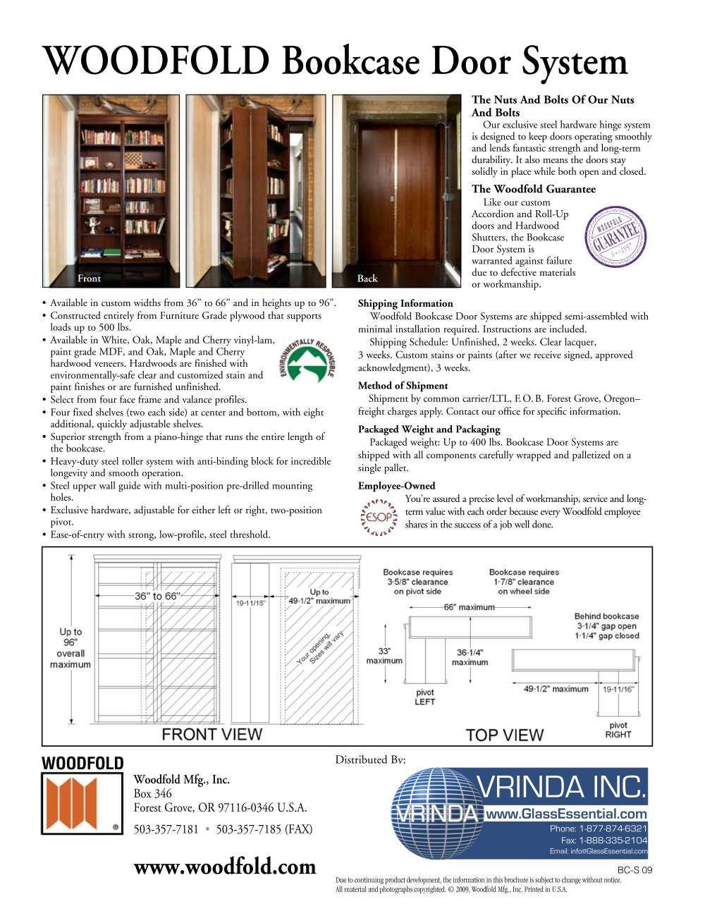 Wood bookcase hiding folding door-5