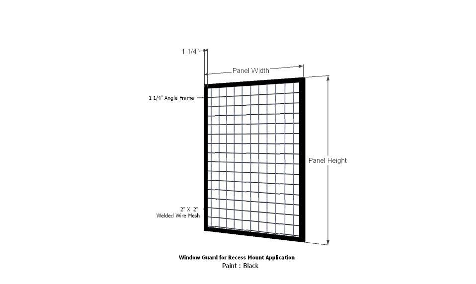 Wire Mesh Window Guard Angle Frame Recess Mount