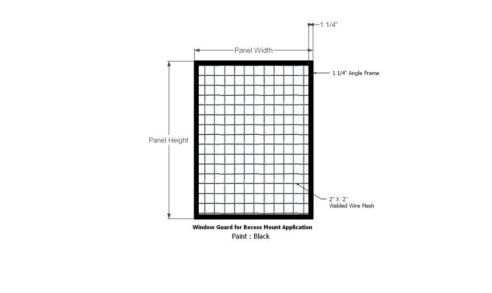 Wire Mesh Window Guard Angle Frame Recess Mount-2